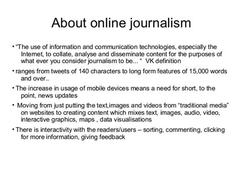 theme definition journalism orientation to online journalism
