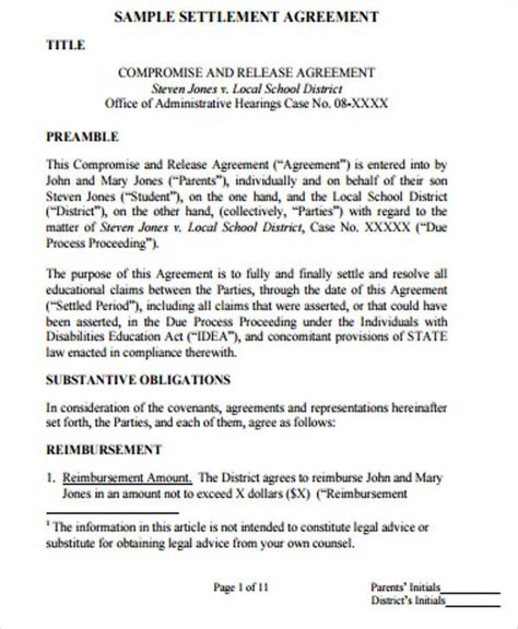 100 settlement agreement template uk settlement