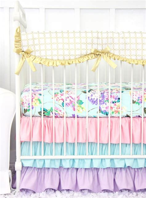 Holly S Hydrangea Ruffle Baby Bedding Pastel Pink Blue Pastel Crib Bedding Sets