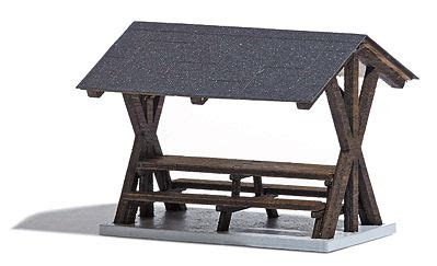 tisch kanopy table benches w canopy laser cut wood kit ho scale