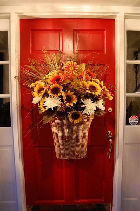 Basket For Front Door Florals Fall Thanksgiving Front Door Basket