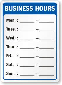 store hours template free pics for gt printable business hours sign