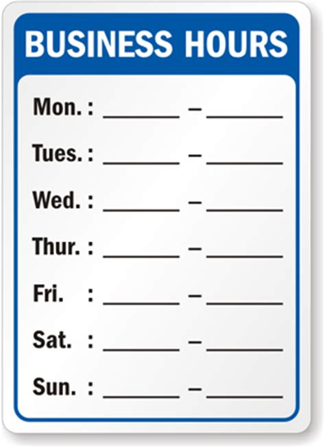 hours of operation template pics for gt printable business hours sign