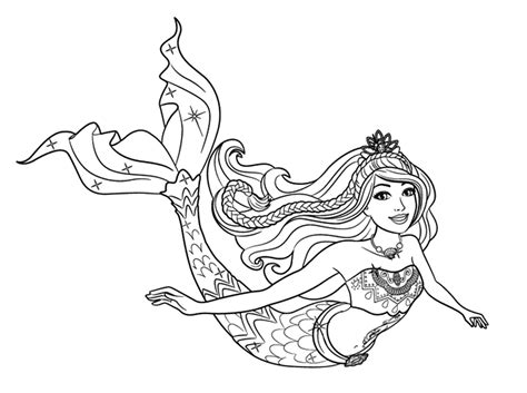 coloring page mermaid princess