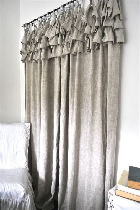 curtains with ruffles ruffle top linen curtain