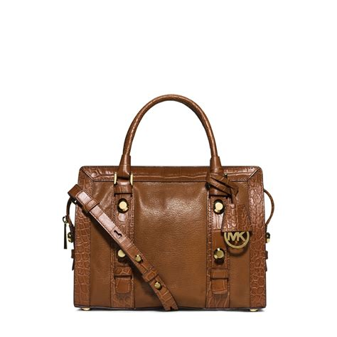 Michael Kors Medium Satchel michael kors collins stud medium leather satchel in brown