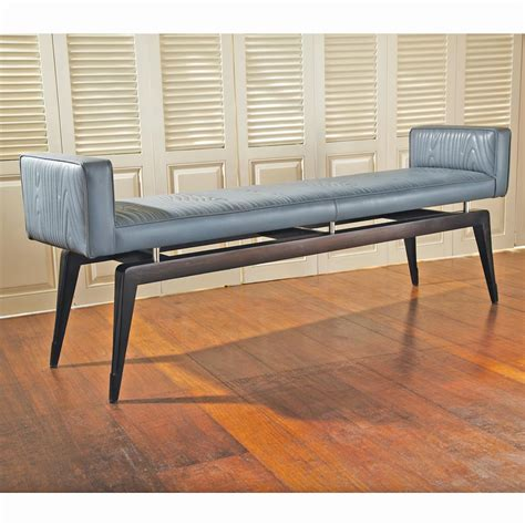 grey patterned bench calista modern art deco wood pattern grey leather bench