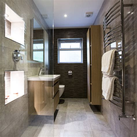 Bathroom Showers Ideas long amp narrow a full wetroom installation into a more