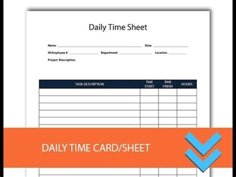 daily time card template free daily time record form freedform