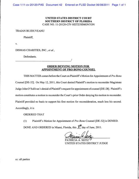 Order denying motion for appointment of pro bono counsel