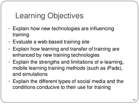 Mba Learning Objectives by Mba760 Chapter 08