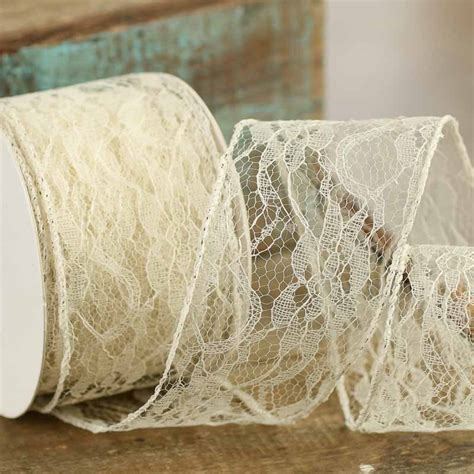 Ribbon Lace vintage inspired ivory lace wired ribbon ribbon and