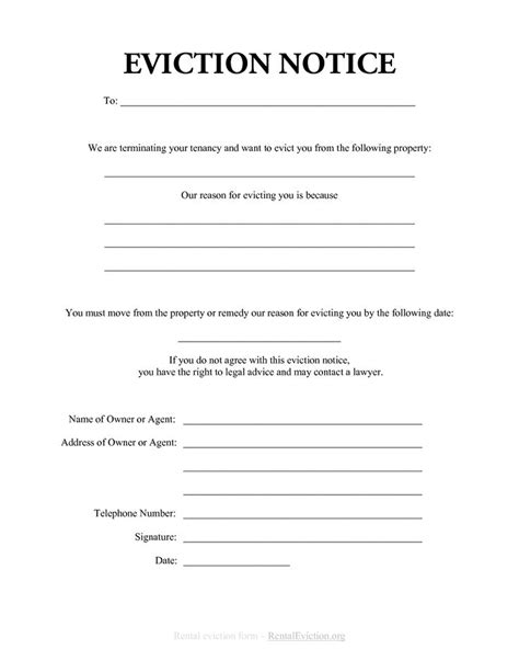 printable 30 day eviction notice printable sle eviction notices form real estate forms