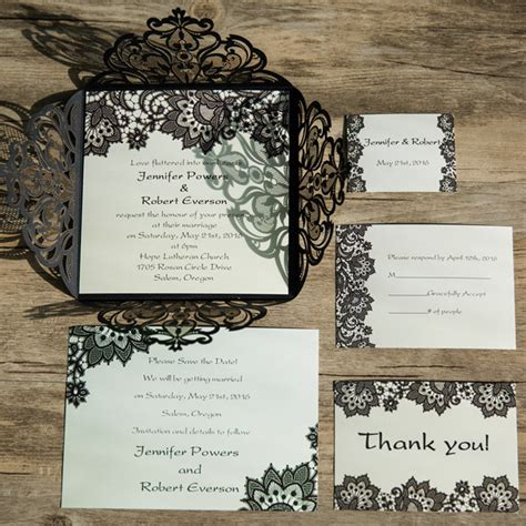 Elegante Hochzeitseinladungen by Black Lace Pattern Laser Cut Wedding Invitations