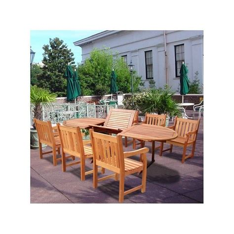 Wood Patio Dining Set 7 Wood Patio Dining Set V144set21