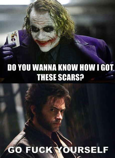 When Memes - wolverine vs joker when memes collide by theartfaerie111