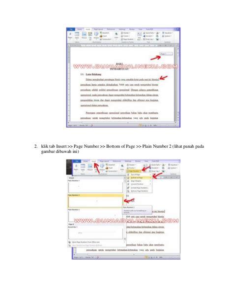membuat nomor halaman atas dan bawah membuat penomoran halaman di bawah untuk halaman bab dan