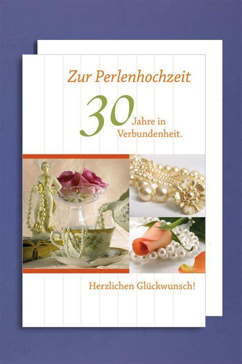 Hochzeit 30 Jahre by Perlenhochzeit Gru 223 Karte Hochzeitstag 30 Jahre Perlen