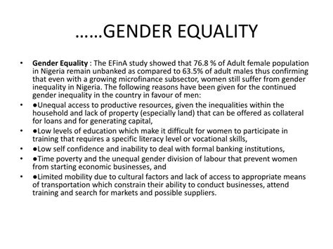 gender equality in the labour sector in nigeria international books ppt the impact of microfinance subsector in promoting