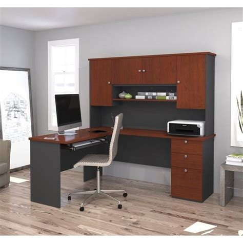 office furniture manhattan bestar manhattan l shape workstation in bordeaux and graphite 81420 39