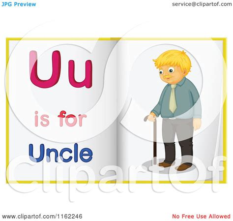 cartoon of alphabet letter u is for uncle pages royalty