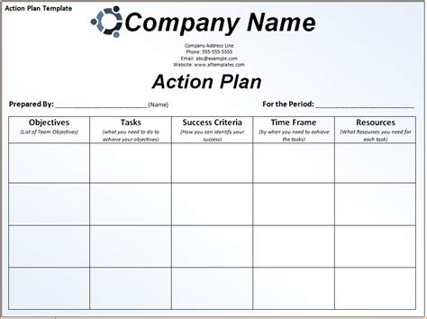 6  sample action plan template   teknoswitch