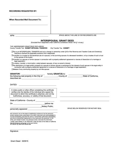 Interspousal Grant Deed Form California Printable Pdf Download Grant Deed Template California