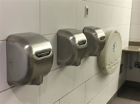 bathroom hot air dryers  blow bacteria