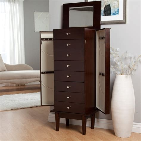 Espresso Jewelry Armoire by Belham Living Juno Vintage Modern Jewelry Armoire