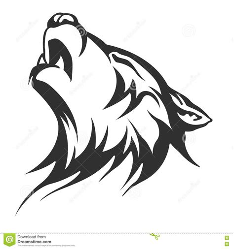 black and white wolf tattoo black wolf illustration illustration stock