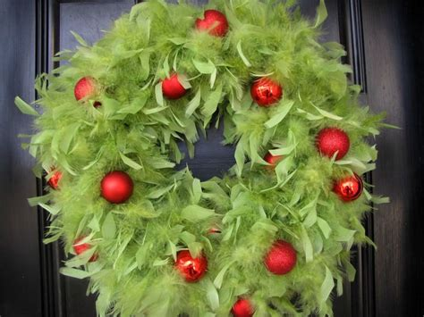 christmas wreath lime green feather wreath with red