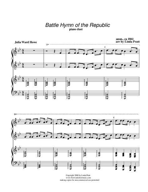 printable lyrics to battle hymn of the republic battle hymn of the republic by linda pratt piano duet