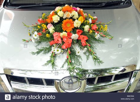 Wedding Car With Flowers by Decorated Wedding Car With Flowers Stock Photo Royalty
