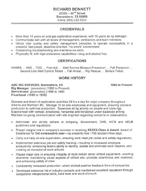 oil rig manager resume sle all trades resume writing
