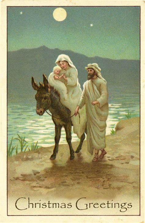 vintage printable christmas cards jesus mary joseph  donkey   lake  moonlight tel