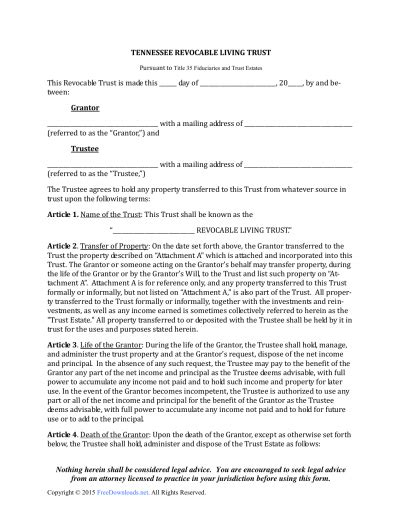 Download Tennessee Revocable Living Trust Forms Pdf Rtf Word Freedownloads Net Revocable Trust Template