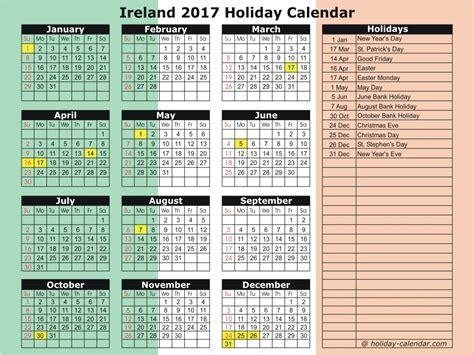 Calendar 2018 Ireland With Bank Holidays Ireland 2017 2018 Calendar