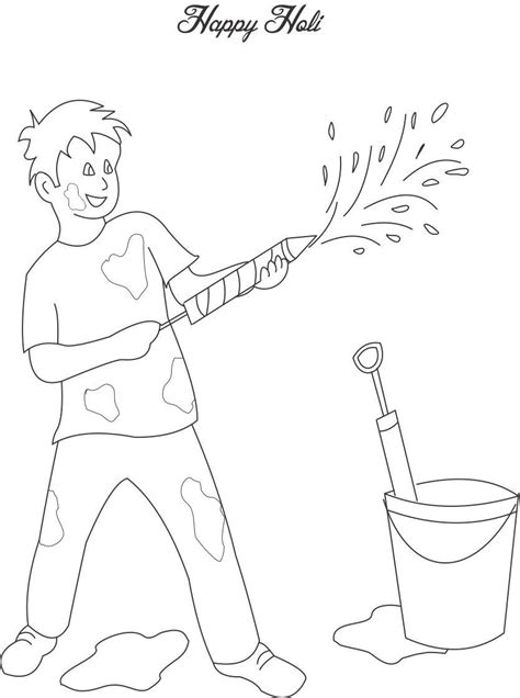 Playing Holi Coloring Printable Page 3 For Kids Holi Colouring Pages