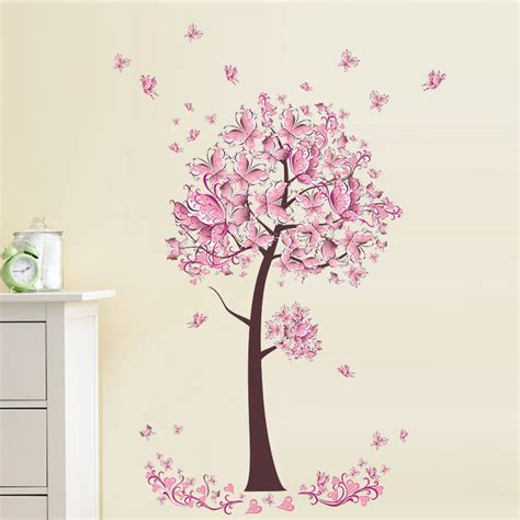 Wall Sticker Eye Butterfly Pink pink butterfly flower tree wall sticker living room bedroom wall decal tv sofa background home