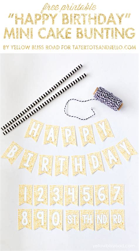 Free Printable Happy Birthday Mini Cake Bunting Tatertots And Jello Mini Cake Banner Template