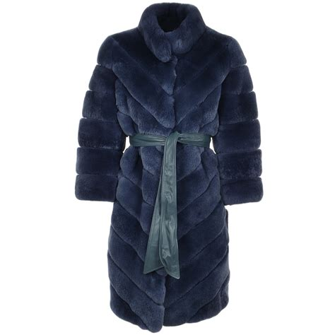 Rex Coat belted rex rabbit 3 4 sleeve fur coat blue montana