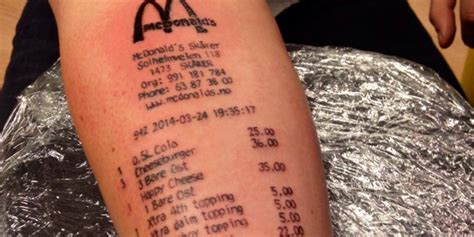 loyal customer gets mcdonald s receipt tattooed on arm