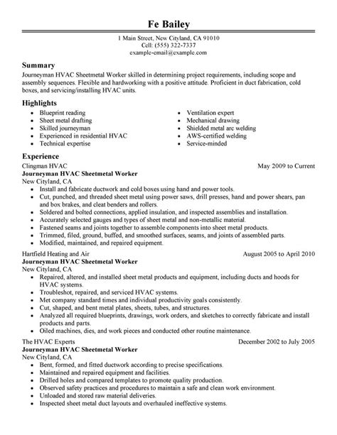 Examples Of Hvac Resumes journeymen hvac sheetmetal workers resume examples