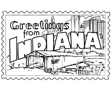 indiana coloring page usa printables indiana state st us states coloring pages