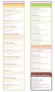 Detox Bar Menu by Whole Foods Juicing Smoothie Menu Juicing Grub