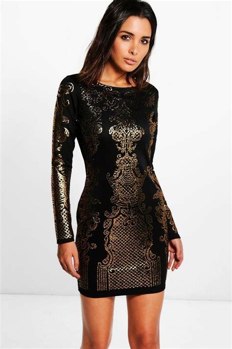 Pattern Dress Boohoo | jossa embellished pattern bodycon dress boohoo