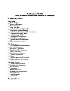 Wedding flower consultation checklist template free download