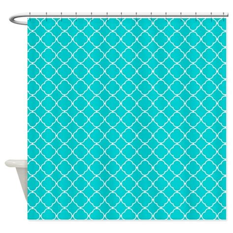 dark turquoise curtains dark turquoise quatrefoil pattern shower curtain by