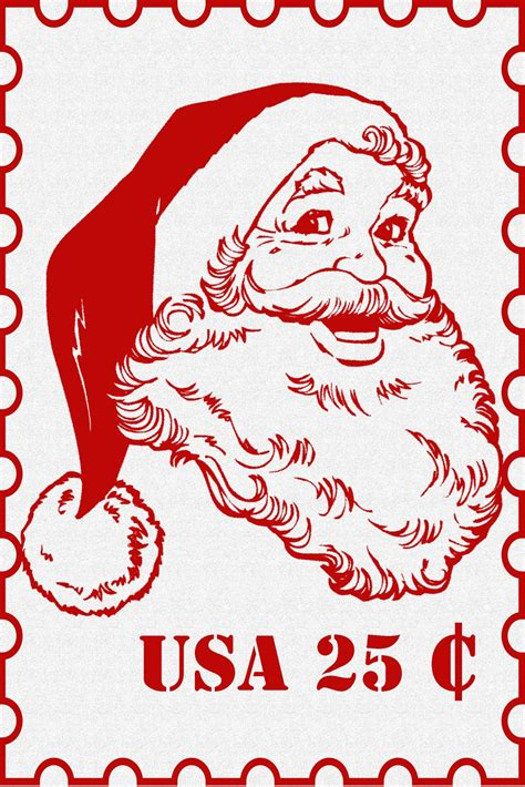 printable santa pictures free santa postage clipart clipart suggest