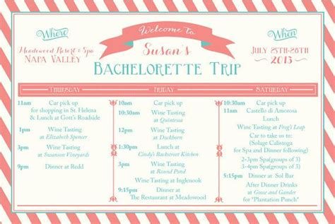 Printable Bachelorette Weekend Itinerary Birthday Weekend Wine Weekend Itinerary Girls Bachelorette Itinerary Template Free